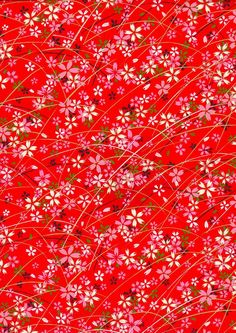 Pink and White Flowers on Red Japanese Yuzen by mosaicmouse, $2.00
