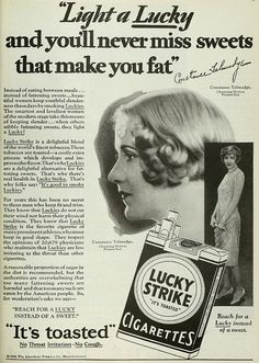 Constance Talmadge, silent film actress - Lucky Strike Cigarettes ad (1929)