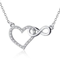 Wholesale Solid 925 Sterling Silver Infinity Pendant Necklace Cubic Zirconia Heart Necklace Fashion Jewelry For Women Fashion Jewelry Necklaces, Cute Jewelry, Jewelry Gifts, Women Jewelry, Silver Jewelry, Jewellery, Infinity Necklace, Wedding Jewelry, Gold