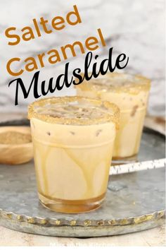The Classic Mudslide Cocktail Is So Simply Made With Irish Cream, Coffee Liqueur And Vodka. I Added A Salted Caramel Kick And It's Amazing If You Haven't Tried It Before, Add It To Your Must-Try List. The Salted Caramel Mudslide Is My New Favorite Cocktail Desserts, Cocktail Drinks, Cocktail Parties, Brunch Drinks, Christmas Drinks, Holiday Drinks, Pudding Desserts, Liquor Drinks, Alcoholic Drinks