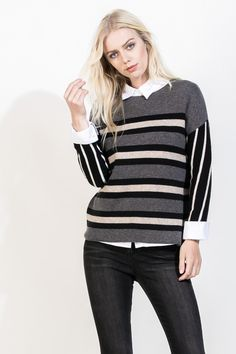 The stripes on this cozy sweater are perfect for fall! This sweater looks great with a button down worn underneath along with black skinnies and boots for a casual day out, or with a pencil skirt and pumps for a great work outfit! www.thmlclothing.com