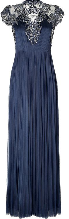 Catherine Deane Draped Silk Embellished Gown