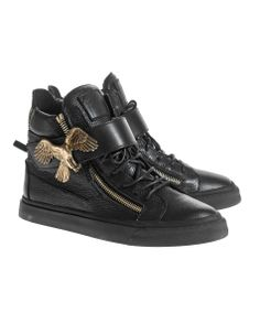 GIUSEPPE ZANOTTI London TR Donna Lindos Vague Nero Leather sneakers with eagle buckle