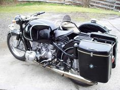 Faring, bags on R69S restored BMW motorcycle.