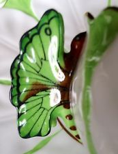 Art deco aynsley vibrant butterfly handle cup trio in soft green shade