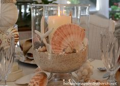 A Lobster & Crab Fest: Beach Party Table Setting Shell Centerpiece for Beach Themed Table Setting Tablescape