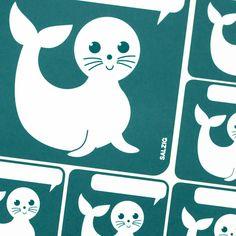Seal - Sticker with speech bubble from SALZIGkids auf DaWanda.com #sticker #seal #kids