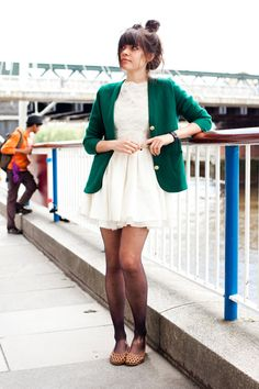 I love how this dress could have been a summer favorite that is used in a fall fashion. The green blazer with gold buttons really does it for me.