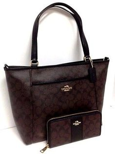 COACH Pocket Tote 33998 and Accordion Wallet Brown Signature PVC Leather 52859