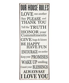 Look at this #zulilyfind! 'Our House Rules' Wall Décor #zulilyfinds