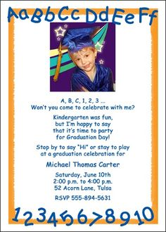 Childrens Kindergarten Graduation Hat ABC123 PreK Invitations
