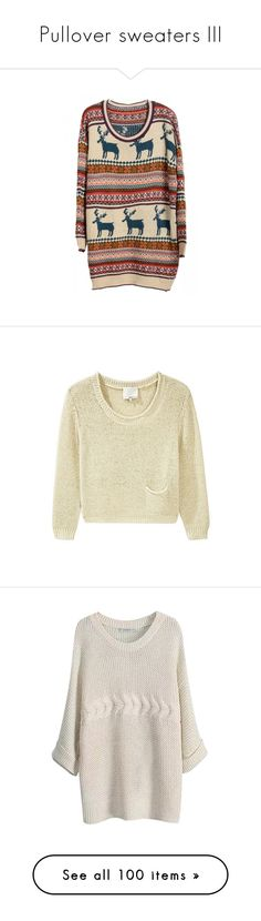 """""""Pullover sweaters III"""" by lithe-fae ❤ liked on Polyvore featuring dresses, tops, sweaters, shirts, jumpers, pocket shirts, loose sweaters, metallic crop top, pullover sweater and slouchy shirts"""