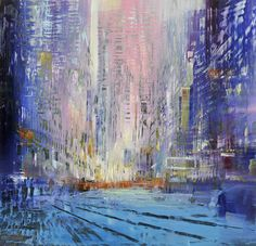 """David and Max Dunlop, """"City Lights,"""" Oil on Aluminum, 48 X City Lights, Painting Techniques, The Past, Landscape, Gallery, Illustration, David, Oil, Artists"""