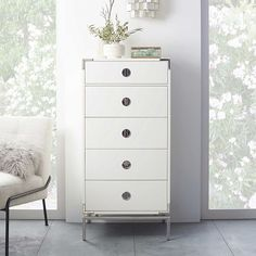 Malone Campaign 5-Drawer Tall Dresser – White Lacquer