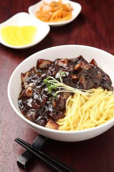 Jjajangmyeon or Korean Black Bean Noodles are an excellent dish to make. Not only are they delicious and filling, but inexpensive to make! Step by step direction how to make these silky noodles. Korean Black Bean Noodles, Korean Noodles, Black Noodles, Asian Recipes, Mexican Food Recipes, Healthy Recipes, Ethnic Recipes, Healthy Food, South Korean Food