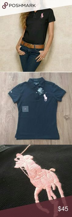 """Ralph Lauren Pink Pony Skinny Polo NWT Nwt! Bust approx 18"""" length from back collar to bottom hem approx 24"""". This shirt was purchased to support breast cancer prevention! Listed as a size large, but fits more of a medium. 100% cotton. Ralph Lauren Tops Tees - Short Sleeve"""