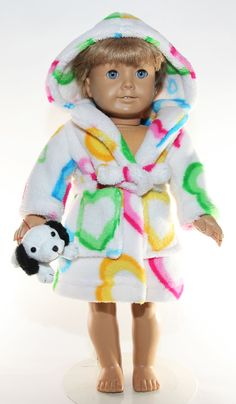18 inch Doll Clothes American Girl Valentine Ultra Plush Robe with Stuffed Dog. $15.99, via Etsy.