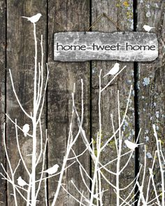 Home Tweet Home 8x10 mixed media art print, birds, woods, trees, rustic, Spring decor, rustic decor, cabin art, country home