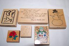 Rubber Stamp Set of 8 Christmas Snowflakes Snowman Poinsettia Easter Firecracker #Various