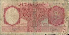 Banco central Argentina.Diez pesos.imagen: JOSE DE SAN MARTIN.