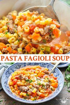 Pasta Fagioli Soup is a traditional Italian recipe that's loaded with Italian sa. - Pasta Fagioli Soup is a traditional Italian recipe that's loaded with Italian sausage, pasta, bea - Italian Sausage Pasta, Italian Pasta Recipes, Italian Soup, Italian Dishes, Simple Italian Recipes, Traditional Italian Recipes, Pasta Fagioli Recipe, Fagioli Soup, Pasta Soup