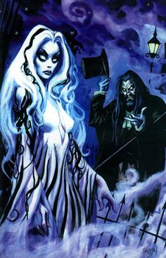 Rob Zombie and wife Sheri Zombie Moon as Living Dead Girl painted by Nocturnal's artist/creator Dan Breneton.