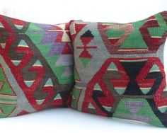 Pair of Kilim Pillow covers with ethnic design