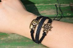 These Sailor Theme Rudder & Face bracelets are great for everyday wear, as well as for gift giving!This bracelet is perfect as a simple and stylish Sailor Theme, Trending Outfits, Stylish, Simple, Unique Jewelry, Bracelets, Handmade Gifts, Face, Leather