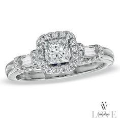 {Vera Wang LOVE} 1 CT. Princess-Cut + Baguette Diamond Frame Engagement Ring