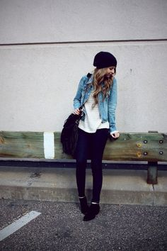 Black pats + White T + Jean jacket + Beanie + Vans. I would replace the vans with ankle boots or heels