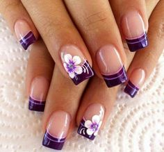 Nägel d nails in 2019 unhas desenhadas, artes de unhas, unhas de gel. Purple Nail Art, Purple Nail Designs, Pretty Nail Art, Colorful Nail Designs, Teal Art, Purple Teal, French Tip Nail Art, French Tip Nail Designs, Summer French Nails