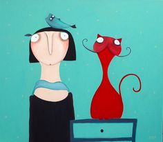 Leinwanddruck, Mechthild mit Katze. 50 cm x 50 cm.