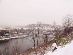 A cold winters view over the Vltava river, taken from Letna Park, Prague