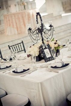 Samantha Dapper Designs - I Do Designs - Black Candelabra Centerpiece @ Vibiana