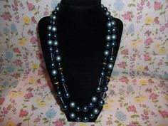 Vintage Blue Beaded Two Strand Necklace by GrammyKayesCreations