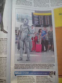 Cyberman at Heathrow airport! Heathrow Airport, Doctor Who, Baseball Cards, Doctor Who Baby