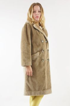 Beige Brown Faux Fur Coat Peacoat Double Breasted by HillPeople