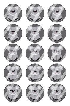 "Koala Bear Bottle Cap 1"" Circle Images Sheet #B25 (instant download or pre cut)"