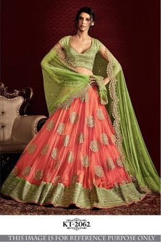 Bollywood Replica - Bridal Green & Peach Lehenga Choli - KT-2062