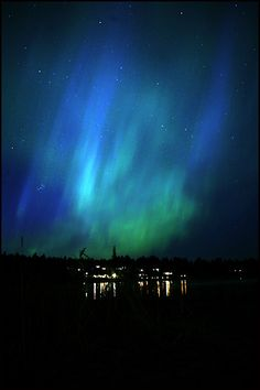 Lights in the night by Leif Wikberg Northern Lights, the High coast, Sweden