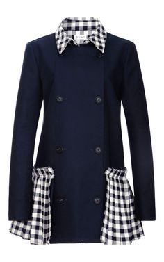 Shop Double Face Checks Pleated Hem Trench by Suno for Preorder on Moda Operandi