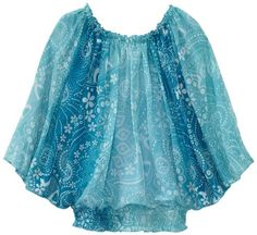 Amy Byer Girls 7-16 Print Chiffon Elastic Neck Butterfly Top, Blue, X-Large. From #Amy Byer. List Price: $36.00. Price: $25.20