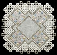 See the pretty Naturally Charming Hardanger Doily at Nordic Needle