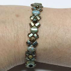 Green Brass Bracelet Beadwoven Bracelet Beadwork Bracelet Thin