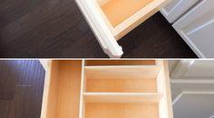 Super easy way to make custom drawer organizers! Wooden Drawer Organizer, Diy Drawer Dividers, Drawer Inserts, Drawer Organisers, Diy Drawers, Wooden Drawers, Kitchen Drawers, Kitchen Cabinets, Kitchen Organization Pantry