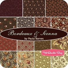 Bordeaux and Sienna Fat Quarter Bundle Paula Barnes for Marcus Brothers Fabrics