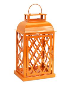 Love this Orange Lattice Lantern Candle Holder on #zulily! #zulilyfinds This would be pretty added to the blue and green one I just posted!