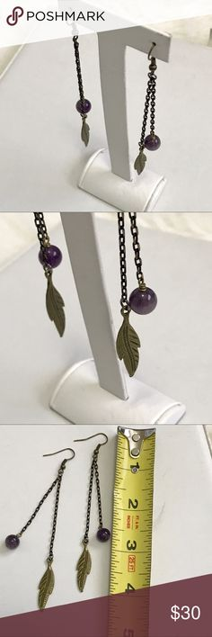 💜 Chained Amethyst & Feather Earrings 💜 Chained Amethyst & Feather Earrings   Brand: Pink Wasp Boutique  Hardware: Oxidized Bronze   Charm: Oxidized Feather   Stone: Purple Amethyst   ❌No Trades Phive'5 Jewelry Earrings