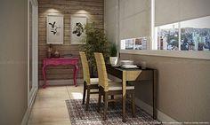 Conjunto para Sala de Jantar Varanda com Mesa Extensível, 2 Cadeiras e Aparador Capuccino/Castanho Canela/Magenta - Caaza