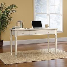 "53"" Antiqued White Writing Desk with Optional Bookcase & File"